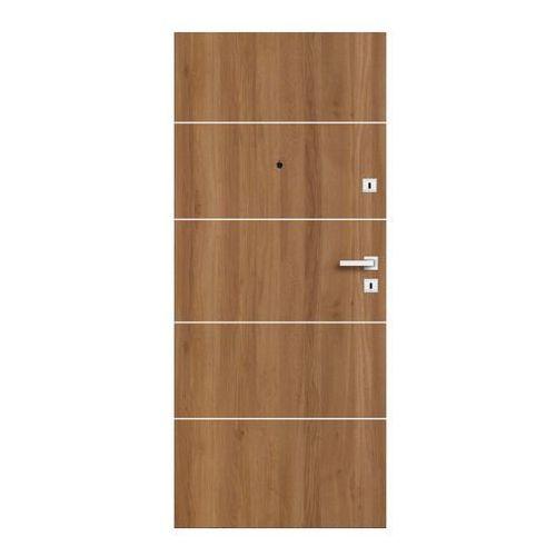Drzwi zewnętrzne drewniane Dominos Alu 90 lewe dąb Bergen