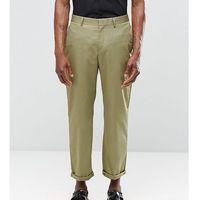 Religion Straight Leg Cropped Trousers in Khaki - Green