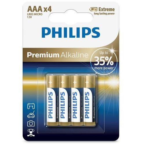 Bateria alkaliczna Philips Premium Alkaline LR03, typ AAA (4 szt.) (4895185609751)