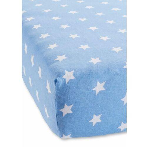 Prześcieradło z gumką w gwiazdy niebieski marki Bonprix