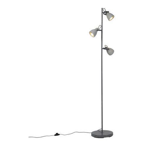 Qazqa Industrialna lampa podłogowa szara beton 3 źródła światła - creto