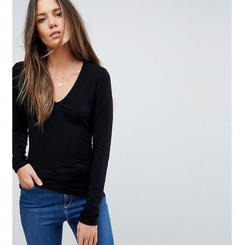 Asos tall Asos design tall ultimate top with long sleeve and v-neck in black - black