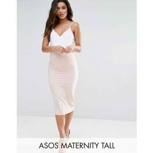 Asos maternity  tall over the bump midi pencil skirt in jersey - pink