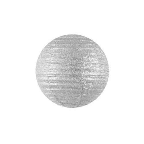 Lampion brokatowy Kula srebrny - 45 cm - 1 szt. (5902230711877)