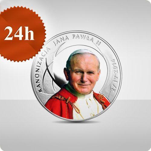 Srebrna moneta z okazji kanonizacji jana pawła ii - 10 zł - kolor- wysyłka w 24 h! marki Nbp