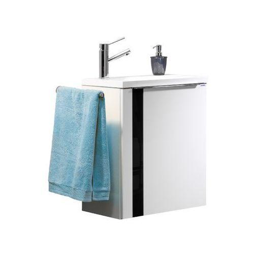 Szafka łazienkowa biała z umywalką vedro 50 - czarna \ 50 cm \ biały wysoki połysk marki Lanzet