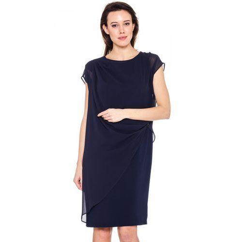 Granatowa sukienka z marszczeniem - Vito Vergelis