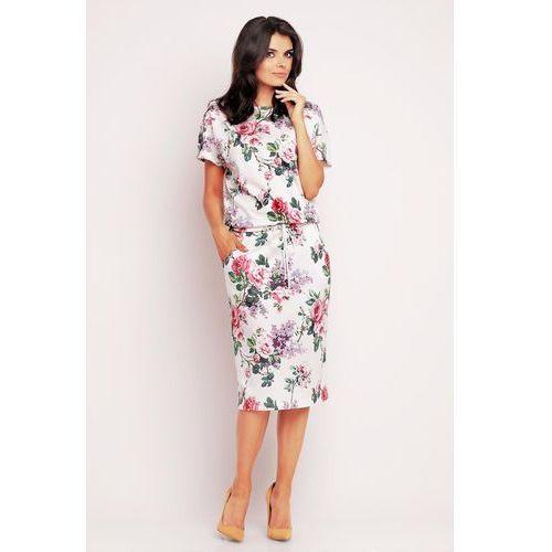Prosta Sukienka Midi w Róże z Troczkami, WA145pi