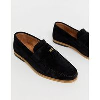 River island suede tassel loafers in black - black
