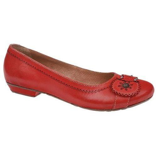 Włoskie Balerinki PIAZZA 830049-4 Czerwone, kolor czerwony