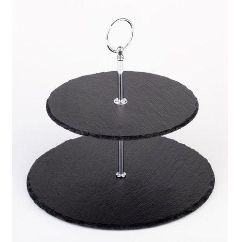 Etażera dwustopniowa z kamienia łupkowego o średnicy 250 mm | APS, 00989