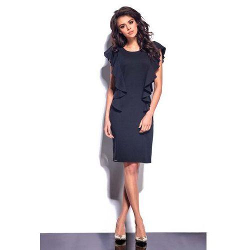 Czarna Sukienka Midi z Pionowymi Falbankami, kolor czarny
