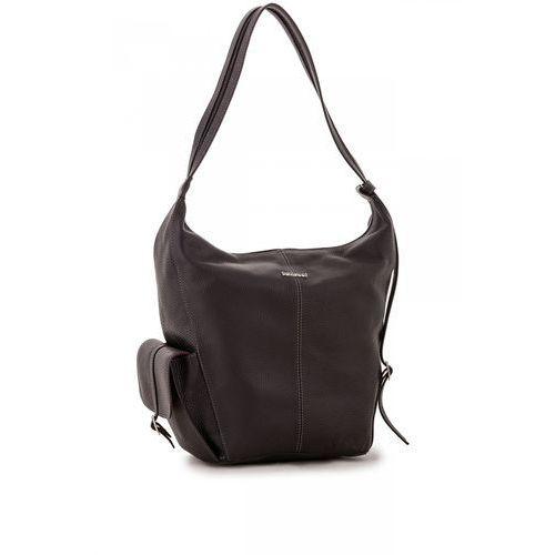 Czarna torba/plecak ze skóry naturalnej - Franco Belucci, kolor czarny