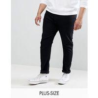 Burton Menswear PLUS Slim Jeans In Black Wash - Black, kolor czarny