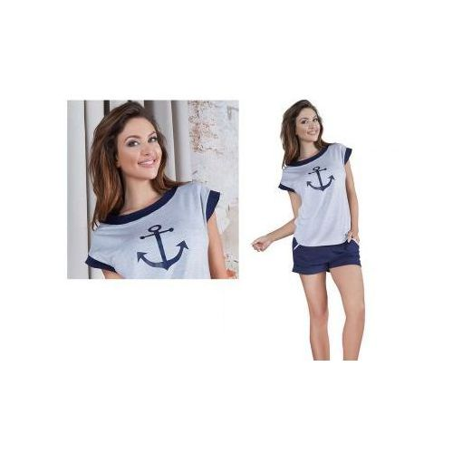 Piżama damska MONA: szary/granat, kolor niebieski
