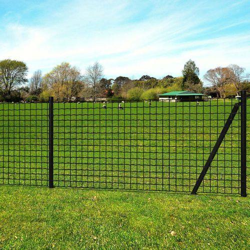 vidaXL Euro ogrodzenie z kotwami do ziemi, 10x0,8 m, szare, stalowe