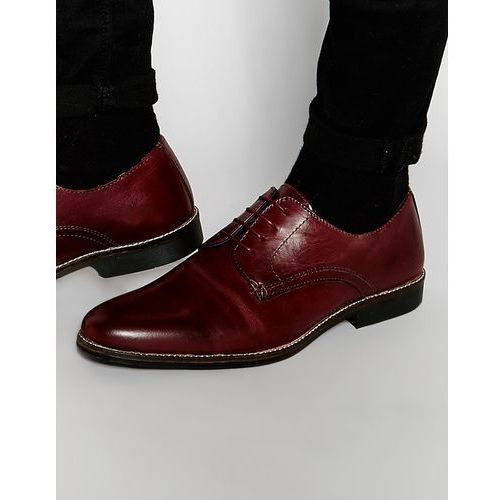 lace up shoes in burgundy leather - red, Red tape