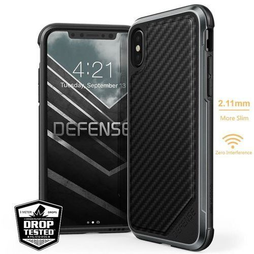 X-doria defense lux - etui aluminiowe iphone xs / x (drop test 3m) (black carbon fiber) (6950941474498)