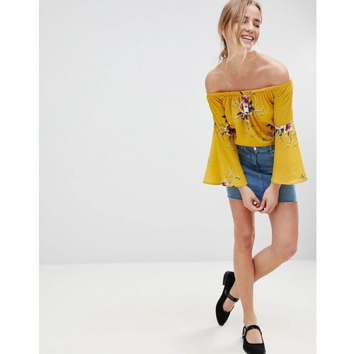 off shoulder floral top - yellow, Qed london, 38-40