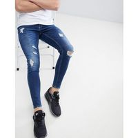 Gym King Muscle Fit Jeans In Midwash Blue With Distressing - Blue, jeans