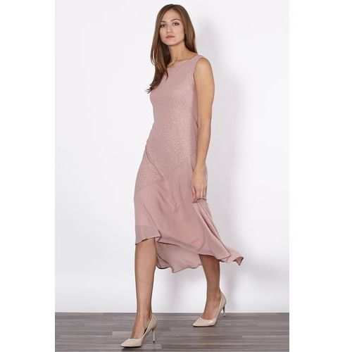 Jedwabna sukienka z łączonych tkanin - Click Fashion, 1 rozmiar
