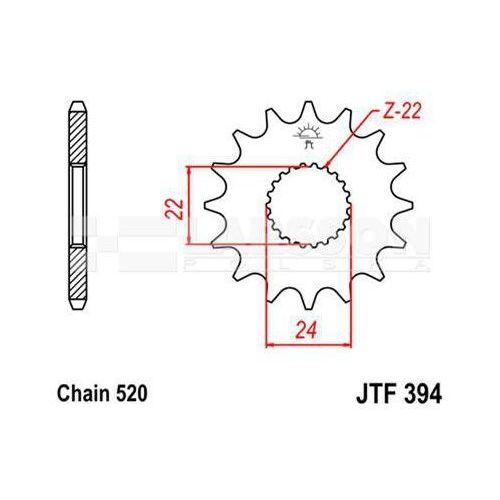 Jt sprockets Zębatka przednia jt f394-15, 15z, rozmiar 520 2201338 aprilia tuareg 125, rs 125