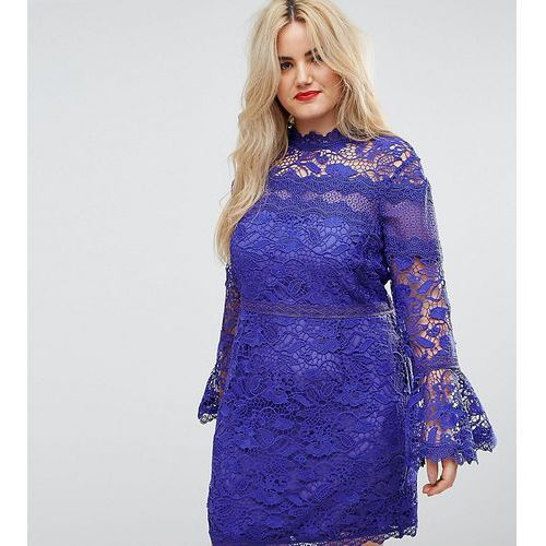 lace long sleeve mini dress with fluted sleeves - blue, Asos curve