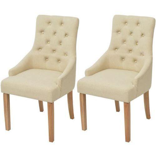 Dębowe krzesła do jadalni, tapicerowane tkaniną, kremowe, 2 szt.