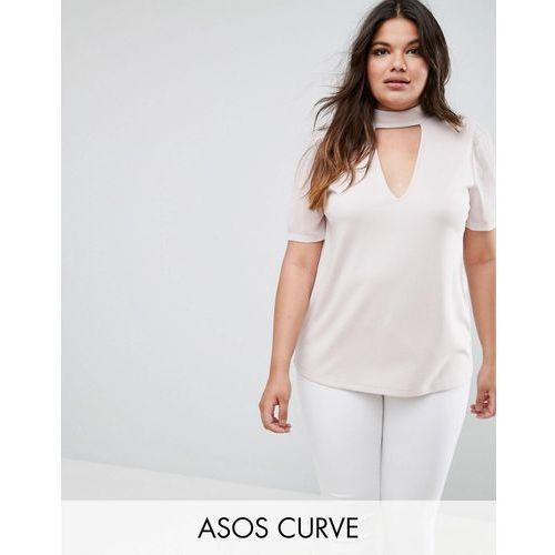 ASOS CURVE Top with High Neck Plunge in Ponte with Chiffon Sleeve - Beige