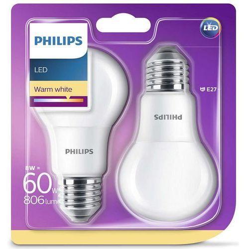 Philips Żarówka LED E27 8W (60W) 806lm 230V barwa ciepła 76830 (2szt)
