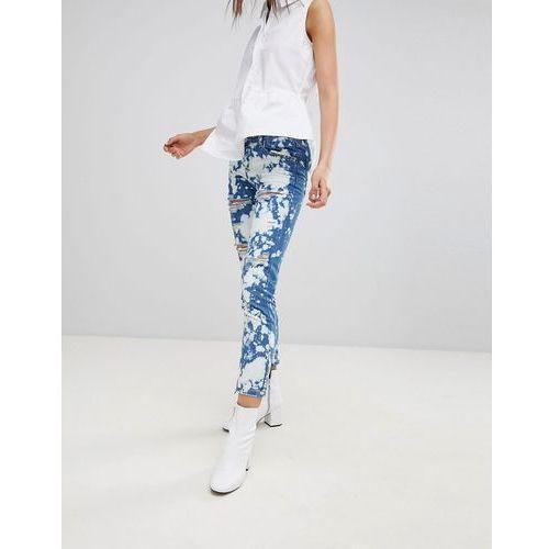 bleach splat ripped boyfriend jeans - blue, Glamorous, 34-36