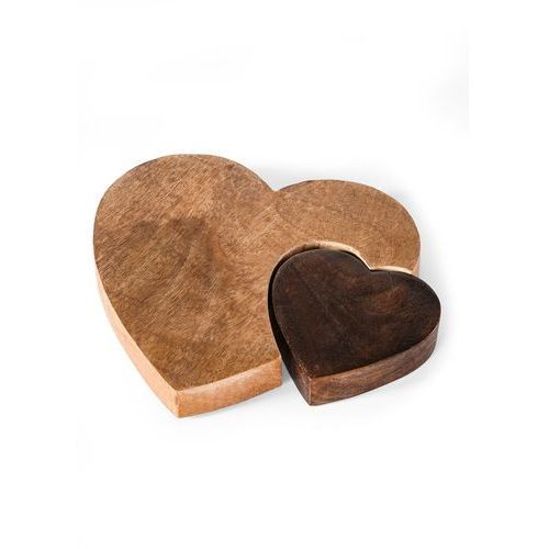 Dekoracyjne serca drewniane bonprix jasnobrązowo-ciemnobrązowy