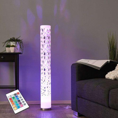 Designowa lampa podłogowa z oświetleniem led rgb i pilotem - alisea marki Lindby