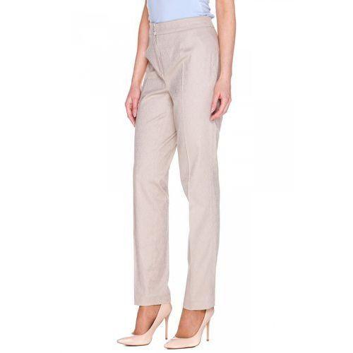 Beżowe spodnie w tłoczony wzór - Bialcon, kolor beżowy