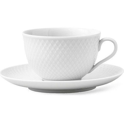 Lyngby porcelain Filiżanka z podstawkiem rhombe, biały -