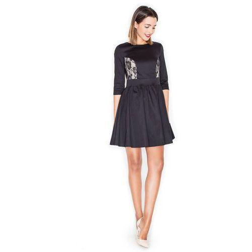Elegancka Czarna Rozkloszowana Sukienka Mini z Koronką, w 4 rozmiarach