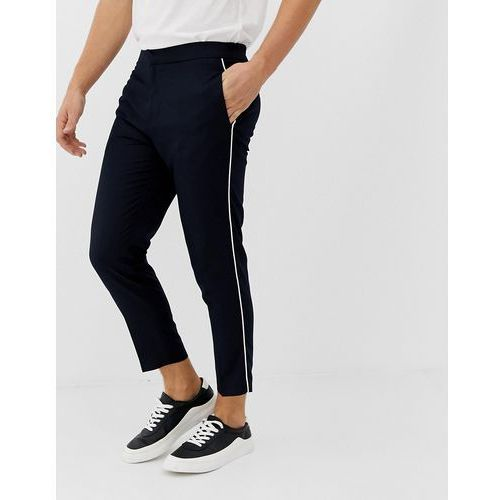 slim fit smart trousers with side piping in navy - navy, New look