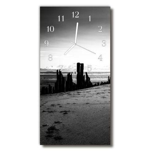Zegar Szklany Pionowy Krajobrazy Plaża góry Czarno-biały, kolor wielokolorowy