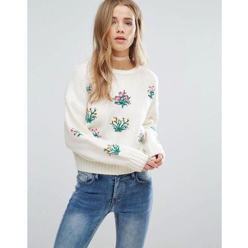 New Look Floral Embroidered Knitted Crop Jumper - Cream z kategorii Pozostałe
