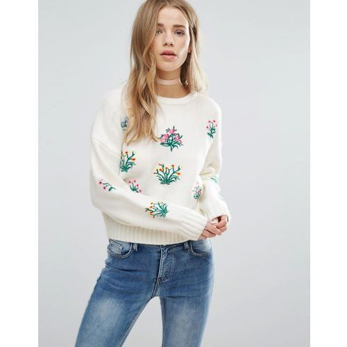New Look Floral Embroidered Knitted Crop Jumper - Cream