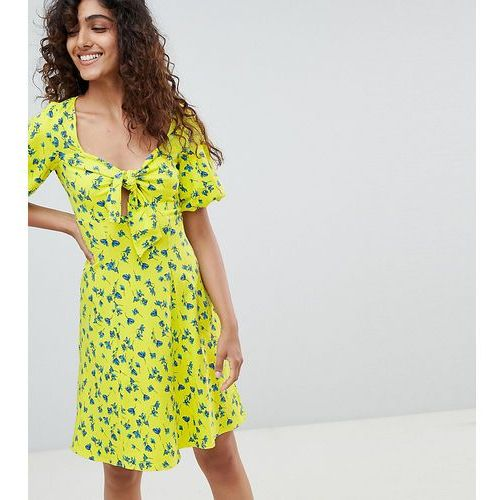 Asos design tall bubble sleeve tie front skater sundress - multi marki Asos tall