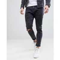 Bershka Super Skinny Jeans With Ripped Knees In Black Wash - Black, jeans