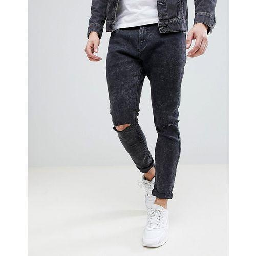 Bershka Super Skinny Jeans With Ripped Knees In Black Wash - Black, kolor czarny