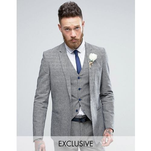 skinny wedding square hem suit jacket in dogstooth - navy marki Only & sons