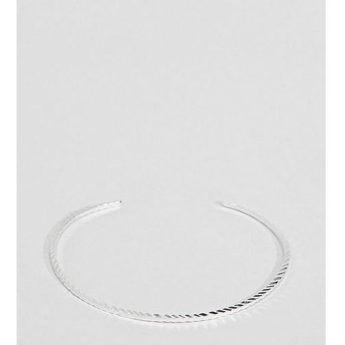 ASOS DESIGN Curve Sterling Silver Etched Cuff Bracelet - Silver