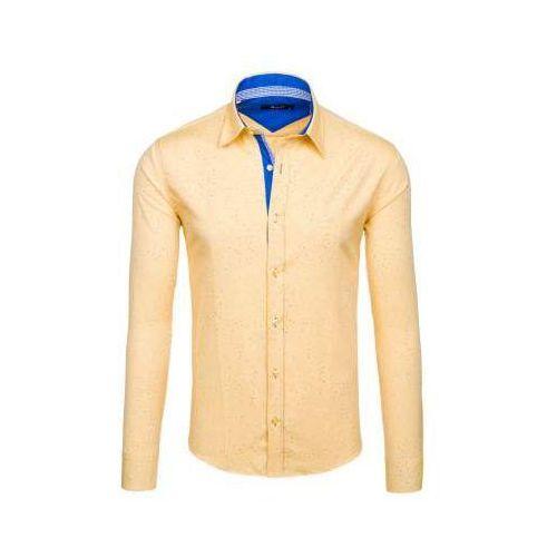 Bolf Żółta koszula męska we wzory z długim rękawem 6887