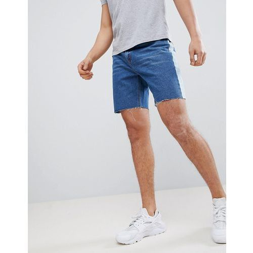 slim fit denim shorts with side stripe in blue wash - blue, Boohooman