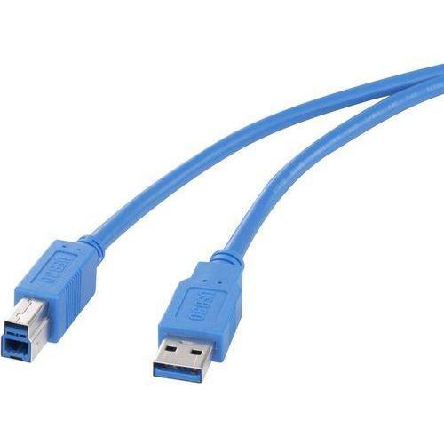 Kabel USB 3.0 Renkforce 1420169, [1x złącze męskie USB 3.0 A - 1x złącze męskie USB 3.0 B], 3 m, niebieski, 1420169