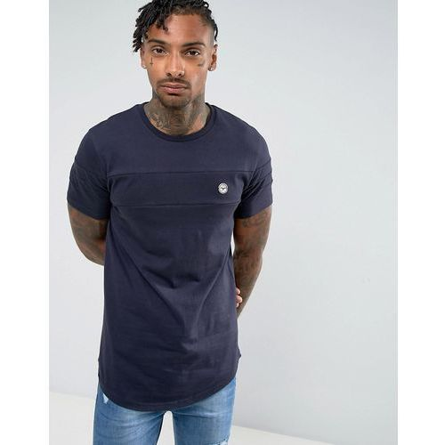 Le breve longline curved hem cut and sew t-shirt - navy