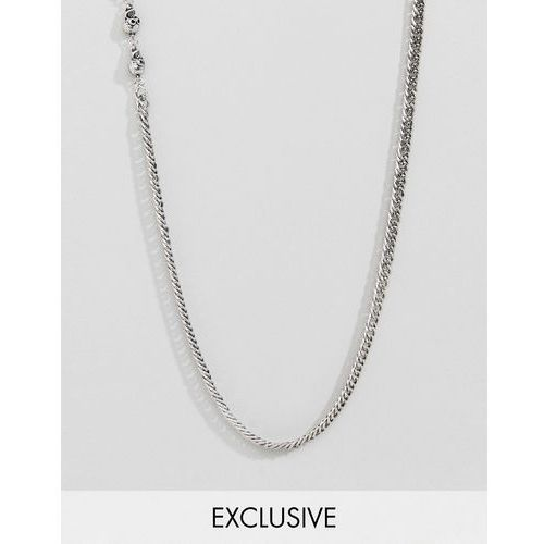 Reclaimed Vintage inspired lariat necklace with skull in silver exclusive at ASOS - Silver, kolor szary